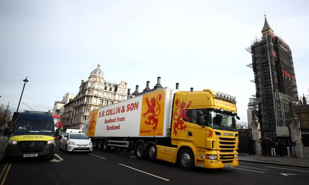 Brexit carnage: shellfish trucks protest in London over export delays