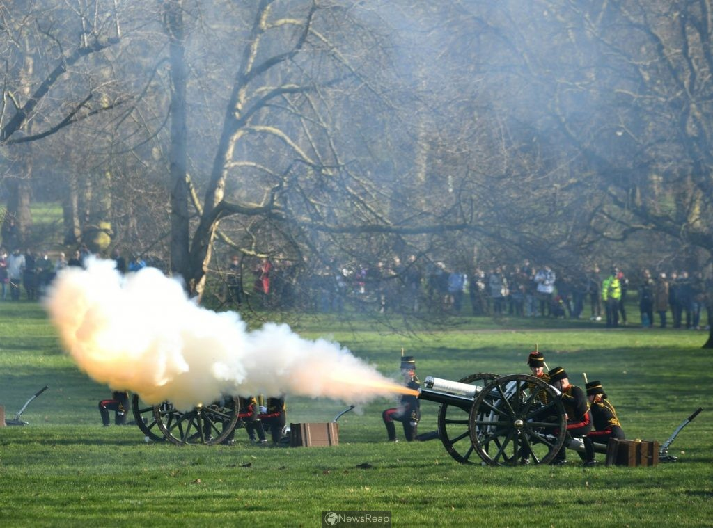 Across the UK Artillery guns fire to Pay Tribute to Prince Philip